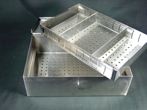 New Stainless Steel Sterilization Case with Tray - Veterinary Surgical Only